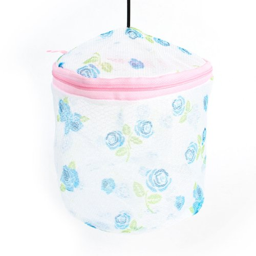 Zipper Closure Plastic Holder Rose Pattern Underwear Bra Washing Bag front-162844