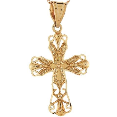 10k Gold Diamond Cut Religious Christian Cross Filigree Charm Pendant