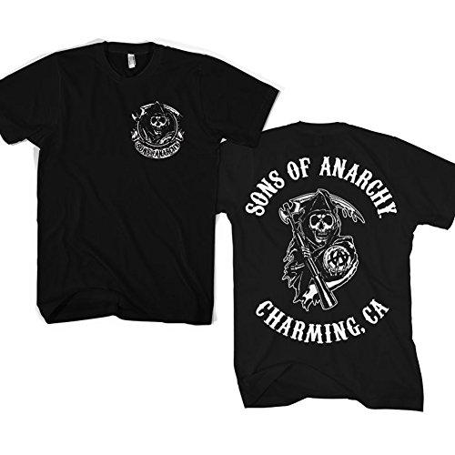 Officially Licensed Merchandise SOA Full CA Backprint T-Shirt (Black), Medium