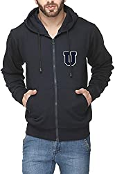 Scott Mens Premium Cotton Flocking Letter Pullover Hoodie Sweatshirt WITH Zip - Navy Blue - UESSHZ11_M