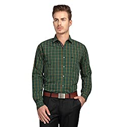 British Line Green Color Checked Slim Fit Shirt
