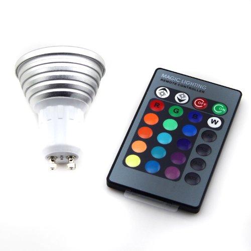 Asunflower® 3W Gu10 16 Color 110V 220V Rgb Led Flash Light Bulb Lamp Remote Control
