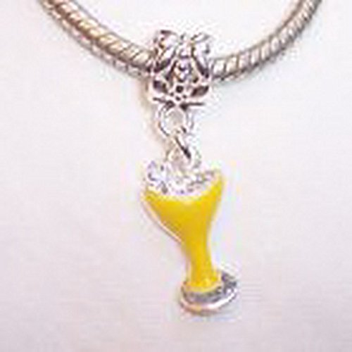Beads Hut - Yellow Enamel Cocktail Drink Martini Dangle Bead for European Charm Bracelets