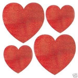 Valentines Mini Glitter Heart Cutout Assortment 10ct