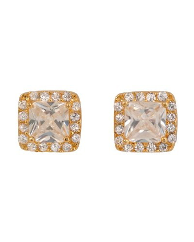Joycelin's 925 Sterling Silver Stud Earrings Gold Plated Half Bezel Square CZ Diamond & Clear CZ Edge - Incl. ClassicDiamondHouse Free Gift Box & Cleaning Cloth