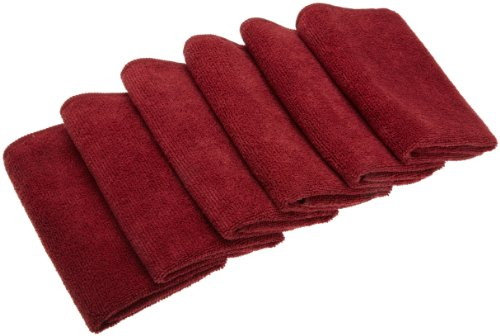 EXCELLO and Design Imports CAMZ76300 Deep Red Microfiber Terry Cleaning Cloth, (Pack of 6)