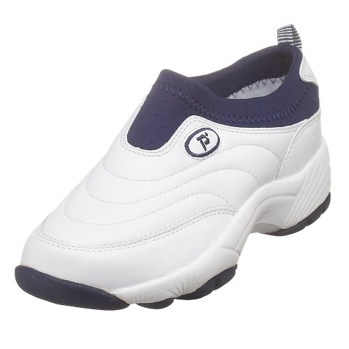 Propet Women's W3851 Wash & Wear Slip-On,White/Navy,7.5 M (US Women's 7.5 B)