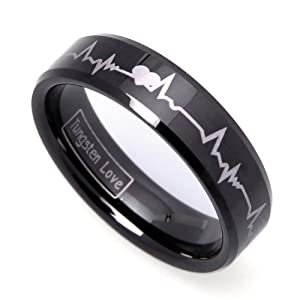 JewelryWe Matching Black Comfort Fit Tungsten Carbide Rings with Laser Forever Love Design 8mm (Size 5-16) His & 6mm (Size 4-16) Hers Set Aniversary/engagement/wedding Bands