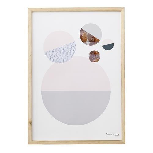 Wandbild Kunstdruck gerahmt Bloomingville Kreise 70cm