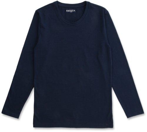 (ジョルダーノ)GIORDANO Gウォーマー防寒下着 発熱クルーネックロングスリーブTシャツ 01211502 67 67 Navy Blue L