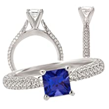 buy 18K Elite Collection Lab-Grown 7Mm Princess Cut Blue Sapphire Engagement Ring With Natural Diamonds