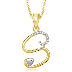 Meenaz Gold Plated 'S' Letter Pendant Locket Alphabet Heart For Men And Women With Chain Ps326
