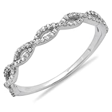 buy 0.18 Carat (Ctw) 14K White Gold Diamond Swirl Anniversary Wedding Band Stackable Ring 1/5 Ct (Size 6.5)