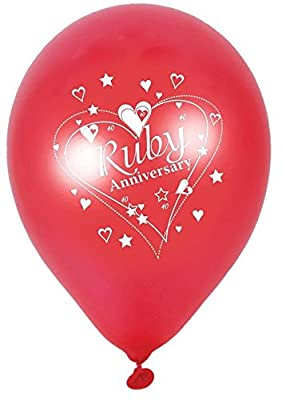 40th Ruby Wedding Anniversary 12 Inch Latex Balloons x 5