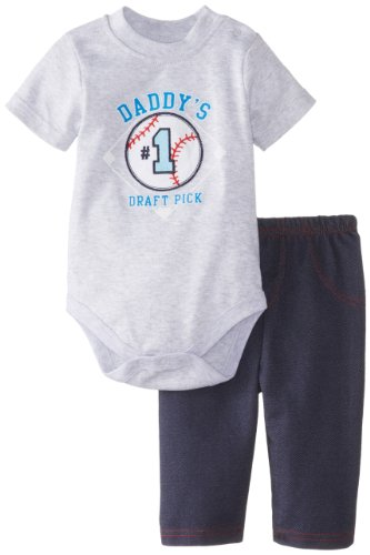 Bon Bebe Baby-Boys Newborn Daddy'S Pick Bodysuit And Knit Pant Baseball Set, Multi, 0-3 Months front-1079262