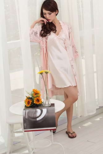 Bininbox Women's Vintage Floral Imitated Silk 2 PCS Sleepwear Nightgown Robes 1