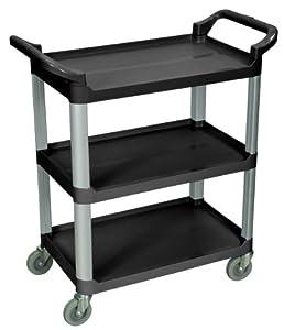 3-Shelf Serving Cart (Black) (36.75H x 33.5W x 16.75D) by Luxor