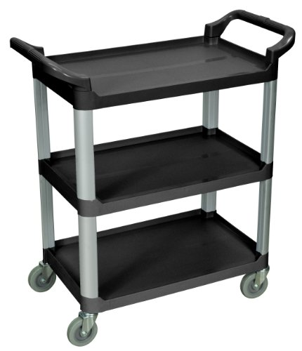 LUXOR SC12-B 3-Shelf Serving Cart, 36.75