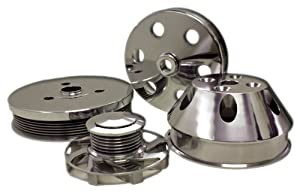 CHEVY SMALL BLOCK BILLET SHORT WATER PUMP SERPENTINE PULLEY SET - POLISHED