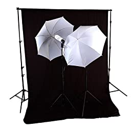 CowboyStudio 600 Watt Photography and Video Studio Continuous Lighting Kit, 10 X 12ft Black Muslin Backdrop with Background Support System & Carry Case