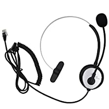 buy Aoer® Silver Call Service Headset With Adjustable Boom Mic For Telephone /Ip Phone Nortel Networks (Northern Telecom) Packet 8 Phones Polycom Safecom Shoretel 4-Pin Rj9 Modular Connector