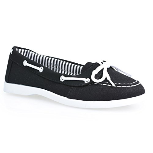 Twisted Women's BONNIE Contrast Stitched Canvas Athletic Boat Shoe - Black, Size 9