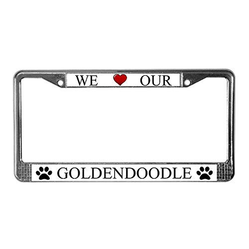 CafePress - White We Love Our Goldendoodle License Plate Frame - Chrome License Plate Frame, License Tag Holder (Goldendoodle License Plate Frame compare prices)