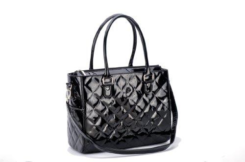 JP Lizzy Patent Classic Designer Diaper Bag - Black