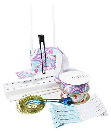HipGirl Boutique DIY Kit–Hair Bow Maker with 10yd 7/8″ Grosgrain Printed Ribbon, 10pc Lined Alligator Clips, Hands Free Tool and 50ft Bow Wire