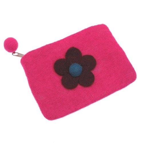 Felt Daisy Flower Purse 150 x 100mm - Pink