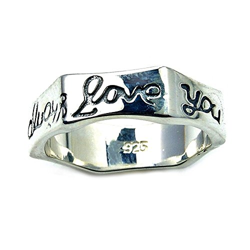 'I Will Always Love You' Solid Sterling Silver Engraved Promise Ring, Size 7.25