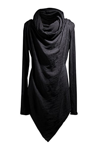 Byther Men's Social Best Large Cowl-Neck Unique Niche T-Shirts One Size Black (Cowl Hoodie compare prices)