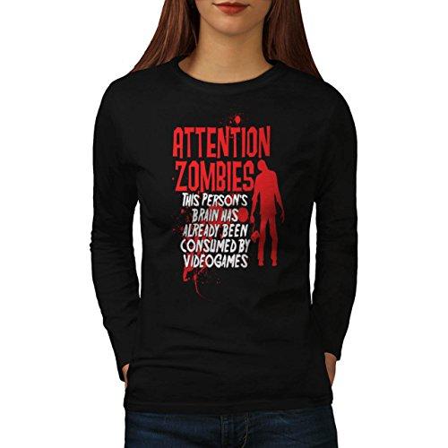 Attenzione Zombie Gioco Video Giocare Da donna Nuovo Nero T-Shirt Manica Lunga XXL | Wellcoda