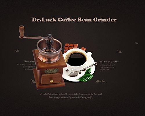 Dr.Luck Manual Coffee Bean Hand Grinder Spice Herbs Vintage Style Wooden Retro Burr Mill,Strong And Durable Hand Grinding Machine, Coffee Beans Grinding Machine, Classic Grain Mill, Manual Grinding Bean Machine(Color:Bronze,Pack of 1) 5