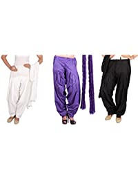 Rama Full Patiala Salwars With Dupattas Combo Of 3 (Purple,Purple, Black_Free Size)