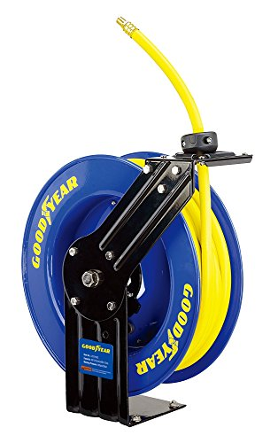 Goodyear L815153G Steel Retractable Air Compressor/Water Hose Reel with 3/8 in. x 50 ft. Rubber Hose, Max. 300PSI (Enclosed Water Hose Reel compare prices)