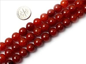 10mm Round Gemstone red crackle Agate bead strand 15