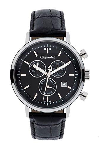 Gigandet CLASSICO Orologio da uomo - Cronografo al quarzo analogico - Impermeabile 50m/5bar - Quadrante nero - Indicazione della data - Cinturino in cuoio nero - G6-004