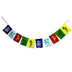7ocean Tibetian Om Mani Flag Car And Bike Hanging Showpiece (Multi Color),(9*65*1 cm)