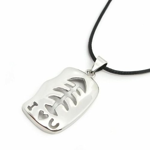 Silver Platinum-plated Hollow Fishbone Pendant Necklaces Romantic Birthday Presents (Fishbone Necklace)