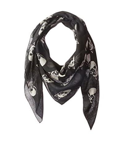 Saint Laurent Women's Skull Scarf, Black/Off-White