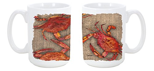 Caroline'S Treasures Cooked Crabs On Faux Burlap Dishwasher Safe Microwavable Ceramic Coffee Mug 15 Ounce 8742Cm15 Made Or Printed In The Usa