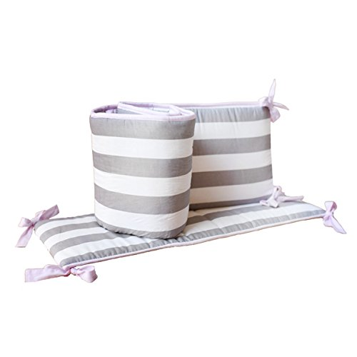 My Baby Sam Chevron Crib Bumper, Pink/Gray