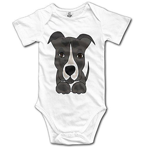 Cute Grey Pitbull Puppy Dog Unisex Boys Girls Sleepwear Romper Baby Onesie (Pitbull Quilts compare prices)