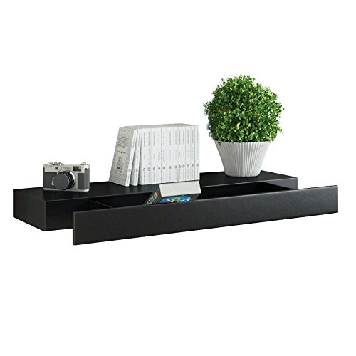 WALLNITURE Wall Mountable Floating Shelf with Drawer Black