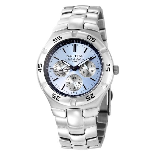 Nautica Men's Metal Basic N10075 Silver Stainless-Steel Quartz Watch with Blue Dial