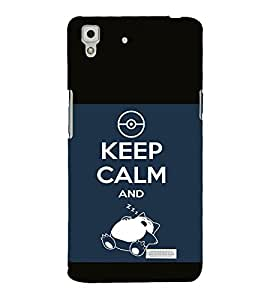 printtech Snorlax Cartoon Keep Calm Quote Back Case Cover for Oppo R7 Lite
