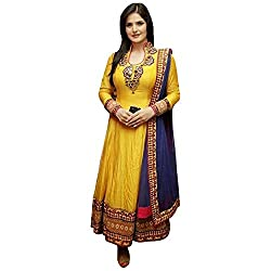 SiyaRam Women's Cotton Semi Stitched Anarkali Suit (HSFS-330_Yellow)