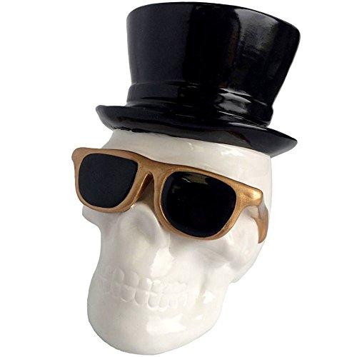 Salvadanaio testa di morte Skull Occhiali e cappello bianco nero e dorato ceramica Bazardeluxe