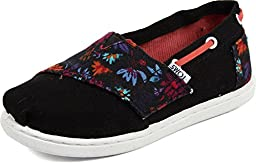 Toms - Tiny Slip-On Shoes In Black Floral Block, Size: 4 M US Toddler, Color: Black Floral Block